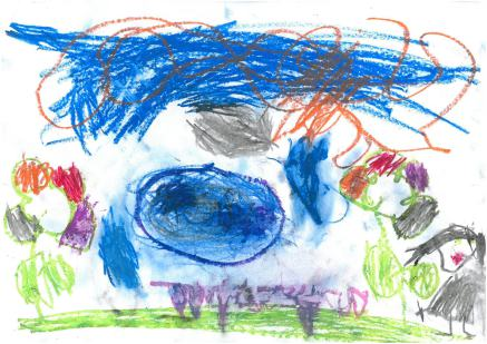 A picture of the Forest School, drawn by a Reception child - very colourful representationof tree, sky, flowers and children