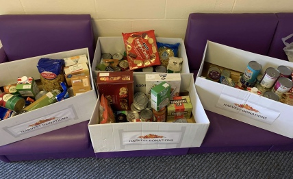 Our packed Harvest Appeal donations - 4 boxes of food donations