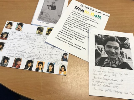 4 peices of work about black history, with pictures and text, including work about Rosa Parks