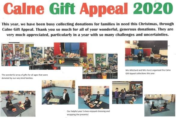 Photos showing the gifts donated and the Y5 children wrapping the gifts